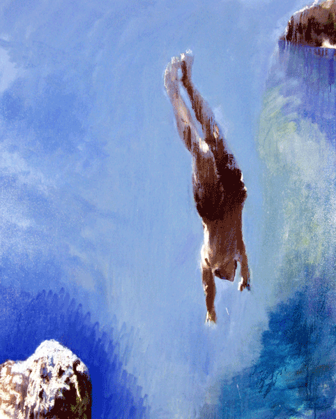 painting of boy diving from rocks at Siracuse Sicily