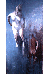 Oniric painiting of nude woman and nude man falling through the air