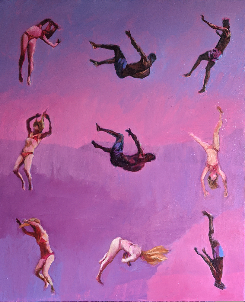 Pink oil painting of tumbling black and white acrobats