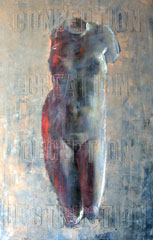 oil painting of Louvre statue with text