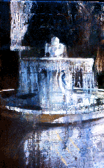oil painting of fountain Versailles with words