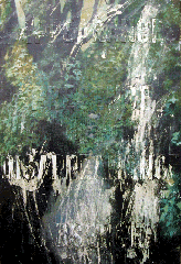 oil painting leavesm scraped off with words